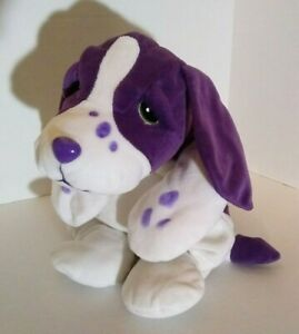 "Vintage Lisa Frank Velvet Dog 24"" Plush Jumbo Purple White Stuffed Plush"