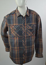 Point Zero Men's Shirt Long Sleeves Orange Label  Plaids Military Style SZ M