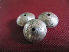 HAND MADE SQUASH BLOSSOM BEADS(12) OUT OF 90% SILVER DIMES REVERSE SIDE UP NICE