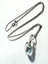 Beautiful faceted green amethyst 9ct hallmarked white gold pendant necklace