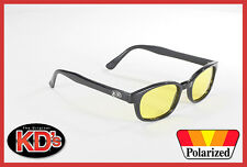 Original KD's Sunglasses Polarized Yellow Lens 20129 Biker Shades