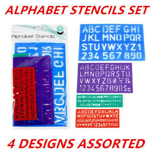 Stencil Sets Upper Lower Alphabet Letters Numbers Durable Plastic 4 Colors Asst