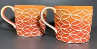 Set Of 2 STARBUCKS 2009 Mugs Orange Ombre Embossed Design Hand Painted 14oz