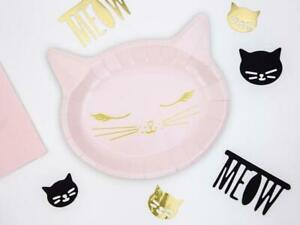 Cat Paper Plates - Pink Kitten Birthday Party Plates - Kitten Party Plates x 6