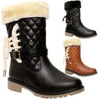Ladies Knee High Calf Fur Boots Womens Quilt Lace Up Winter Warm Snow Shoes Size
