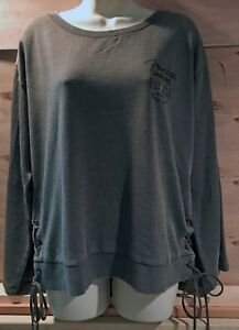 NWT Womens LUCKY BRAND Fender Lace Up Pullover Sweatshirt Olive Large New