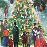 Vintage Mid Century Christmas Greeting Card Victorian Carolers Around Town Tree