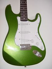 """New 39"""" Full Size  Metallic Green 6 String  Electric Guitar with Gig Bag S Style"""