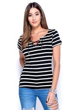 Womens Ladies Black White Stripe Top 8 10 12