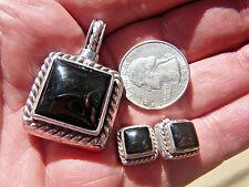 Sterling Silver 925 Natural Black Onyx Pendant, Stud Earrings Set 29.6g