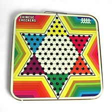 Vintage Chinese Checkers Metal Folding Double Board Game Wall Decor Pressman Toy