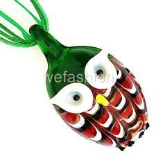 Green Owl Handmade Lampwork Murano Glass Animal Bead Pendant Ribbon Necklace