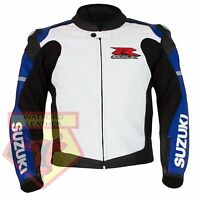 SUZUKI 1078 GSXR BLUE MOTORBIKE MOTORCYCLE BIKER COWHIDE LEATHER ARMOURED JACKET