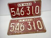 1959 Massachusetts License Plate Matched Pair -  Original Condition 546-310