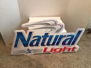 BUSCH NATURAL LIGHT Beer Tin Metal Bar Sign Advertising Man Cave BUD NATTY