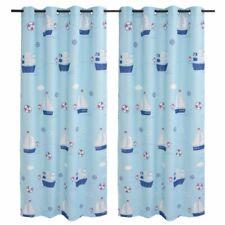 vidaXL Cortinas Opacas Infantiles Estampadas 2 Piezas 140x240cm Azul Hogar