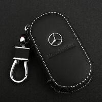 Black Cowhide leather Car Key Holder Keychain Ring Case Bag For Mercedes-Benz