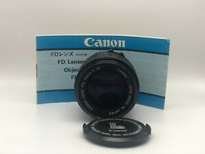 Canon FD 50mm F/1.4 Film Camera Lens with Caps and Manual