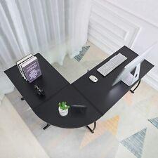 L Shaped Gaming Corner Desk Office Workstation Table Large Black Wood