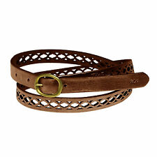 New RALPH LAUREN Genuine Leather Womens Perforated Skinny Belt Small Brown