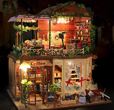 Coffee shop dolls house DIY Kit Handcraft Miniature Project Music Light & TOOL