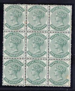 SOUTH AFRICA NATAL1885 SG97a 1/2d dull green - watermark CA 6 u/m 3 l/m/m cat£63