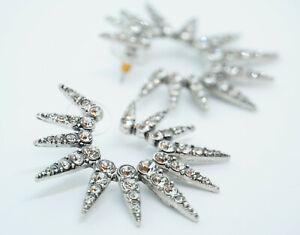 Signed OSCAR DE LA RENTA Sea Urchin Crystal Stud Earrings