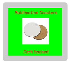 12 x MDF Blank Sublimation Round Coasters 9cm cork backed