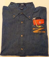 """Denim Shirt with  """"Measure Twice Cut Once""""  Embroidery."""