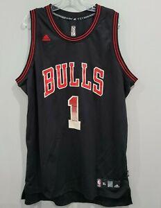 Adidas  NBA Chicago Bulls Derek Rose 1 Black Swingman Jersey Mens XL Sewn