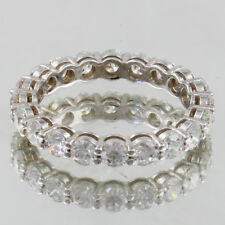 14k White Gold 4.00 Carat Round Cut Dia Certified Eternity Diamond Ring