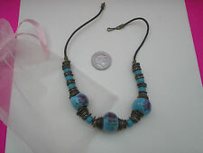 COSTUME JEWELLERY NECKLACE CHINA HAND PAINTED BEADS METAL DISCS THONG CORD BAG