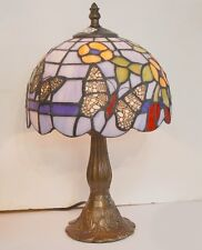 Tiffany Table Lamp ~ Blue Shade with Butterfly and Flower Design ~ Stunning!!!