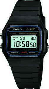Casio Classic Men's Quartz Digital Sport Black Resin Band 33mm Watch F91W-1