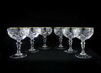 Neman 8oz Cut Crystal Champagne/Cocktail Coupe Glasses Set of 6, 24k gold rimmed