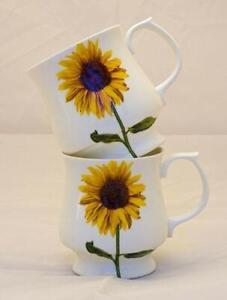 Pair of Attractive Stacking Sunflower Bone China  Mugs
