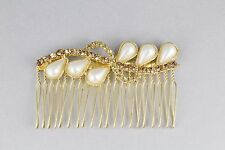 "Gold tone faux pearl amber crystal side clip hair comb french twist 3"" wide"