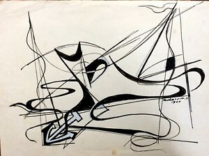 RAPHAEL MOHAR (1906-1962), Ink on Paper , Abstract Seascape, Boat, Signed, 1960