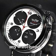48mm parnis white black Sandwich dial PVD Stopwatch chronograph quartz men watch