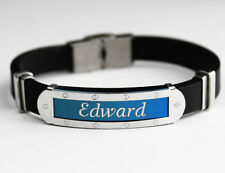 EDWARD - Mens Silicone & Blue Name Plate Engraved Bracelet - Gifts For Him