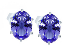 Quality Natural Tanzanite AAA+ Oval cut Stud Earring Sterling Silver