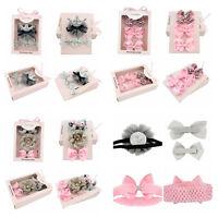 Kids Baby Girl Nice 3Styles Flower Elastic Headband Hair Bows Band In Gift Box