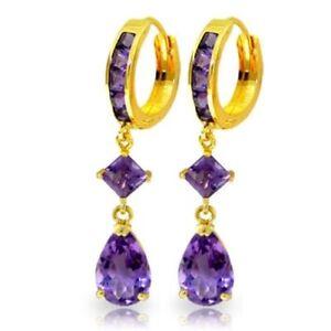 Natural Amethyst Pear & Princess Gems Huggie Hoop Dangle Earrings 14K Solid Gold