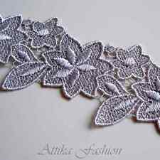 Silver Embroidered Silky Floral Fabric Trim *per yard*