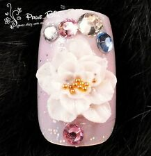 70% OFF!!! Exquisite Peony Crystal Pink Nail Tips 24pcs Universal