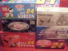 JEFF GORDON #24 SNOOPY DUPONT MULTIPLE 1/24 CAR AND BANK (6) SIX 1/2 CASE LOT