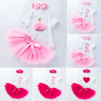 Baby Girls 1st Birthday Romper Tops Tutu Skirt Dress Outfits Newborn Clothes Set