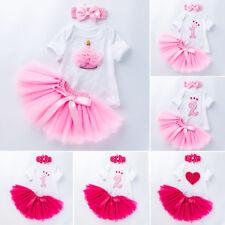 Baby Girls 1st Birthday Romper Tops Tutu Skirt Dress Outfits Newborn Clothes Set