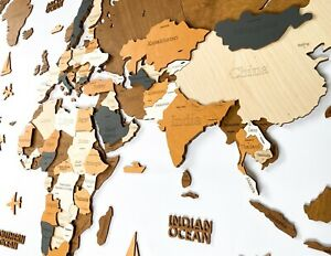 """3D Wooden World Map XL size 78"""" x 39"""" Multilayered Colors"""