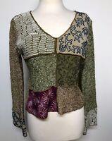 Boston Proper Sweater V Neck Cardigan Patchwork Front Solid Back Bell Sleeves M